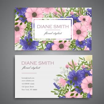 Bloem visitekaartjes roze en blauwe bloemen