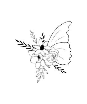 Bloem vlinder tekening