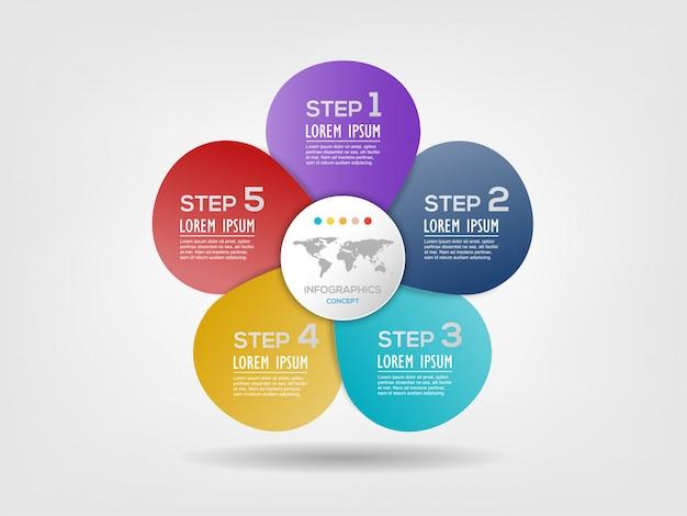 Bloem vorm grafiek infographic sjabloon met 5 opties