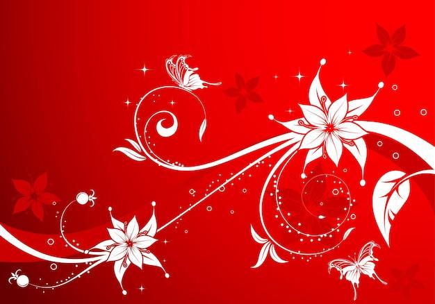 Bloemachtergrond met vlinder, element voor ontwerp, vectorillustratie