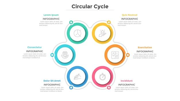 Bloemblaadje diagram met 6 papieren witte ronde elementen. cyclisch proces met zes stappen. eenvoudige infographic ontwerpsjabloon. platte vectorillustratie voor zakelijke projectpresentatie, verslag.