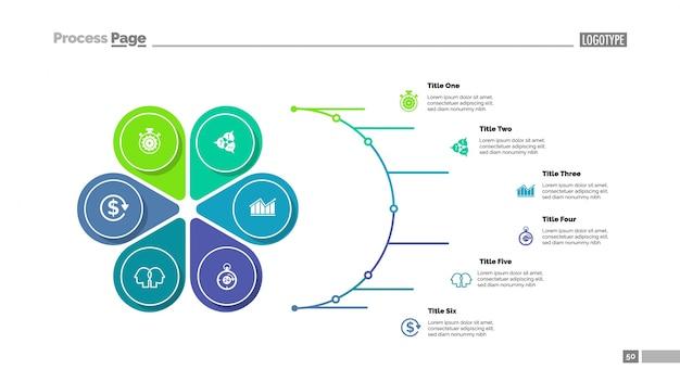 Bloemblaadjesdiagram met zes elementen