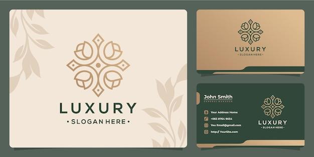 Bloemblad luxe monoline logo-ontwerp en visitekaartje