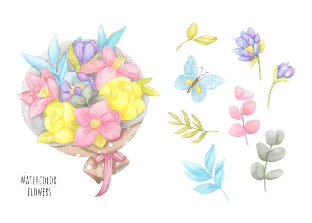 Bloemboeket met bladeren en vlinder