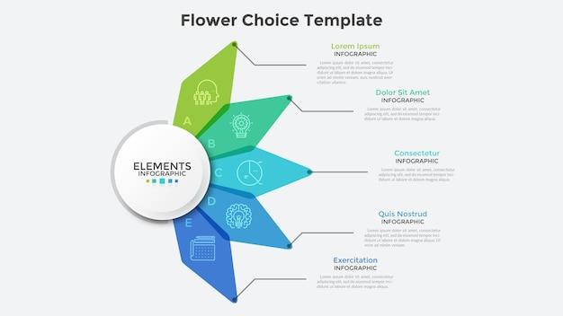 Bloemdiagram met vijf kleurrijke doorschijnende bloemblaadjes. moderne infographic ontwerpsjabloon. concept van 5 kenmerken van een opstartproject. creatieve vectorillustratie voor bedrijfspresentatie, verslag.