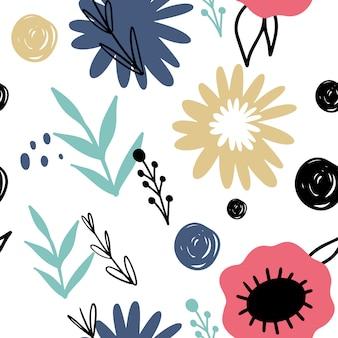 Bloemen abstract naadloos patroon. hand getrokken, doodle stijl planten voor verpakkingen, textiel en andere ontwerpen.