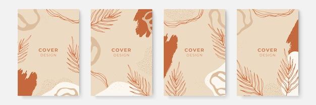 Bloemen achtergrond instellen. abstracte creatieve achtergronden in minimale trendy stijl met kopieerruimte voor wenskaarten of omslagpresentatieontwerpsjablonen. sjabloon voor sociale media in aardetinten
