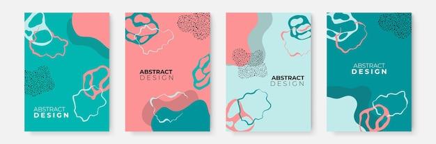 Bloemen achtergrond instellen. abstracte creatieve achtergronden in minimale trendy stijl met kopieerruimte voor wenskaarten of omslagpresentatieontwerpsjablonen. social media-sjabloon in roze, tosca en blauwe kleur