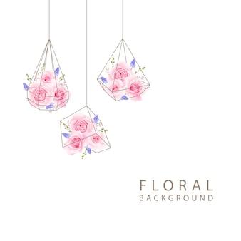 Bloemen achtergrond met roze roos in terrarium