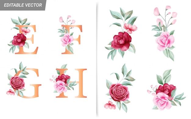 Bloemen alfabet set met aquarel bloemen elementen