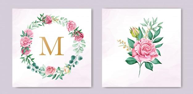 Bloemen aquarel bruiloft uitnodiging sjabloon Gratis Vector