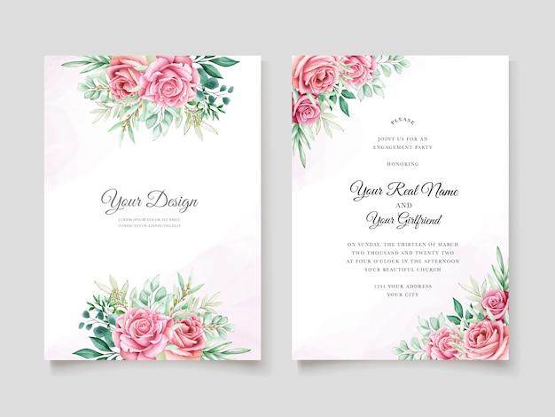 Bloemen aquarel bruiloft uitnodiging sjabloon