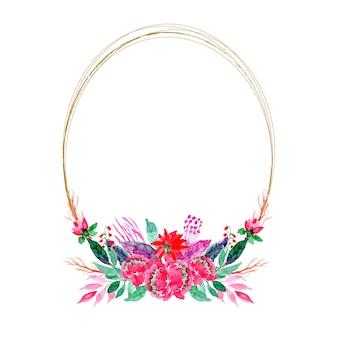 Bloemen aquarel krans frame