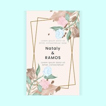 Bloemen aquarel stijl trouwkaart