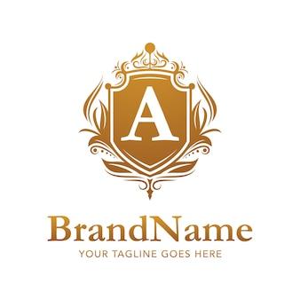 Bloemen badge gouden luxe logo vector sjabloon