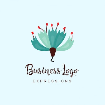 Bloemen bedrijfslogo met typografie