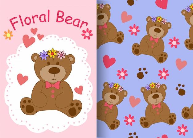 Bloemen beer patroon achtergrond