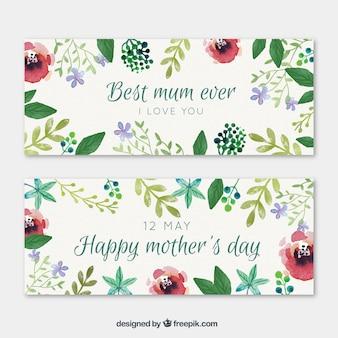 Bloemen beste mamma ooit banners