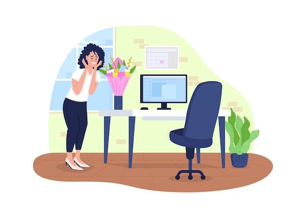 Bloemen bezorgen op kantoor 2d. verrast vrouw plat Premium Vector