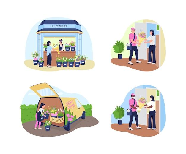 Bloemen bezorgservice 2d vector webbanner, poster set. koerier in masker, vrouw bij winkel teller plat karakter op cartoon achtergrond. bloemist zakelijke afdrukbare patch, kleurrijke collectie webelementen
