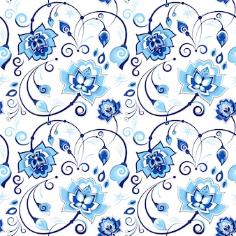 Bloemen blauw en wit naadloos patroon in slavic thema