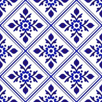 Bloemen blauw patroon