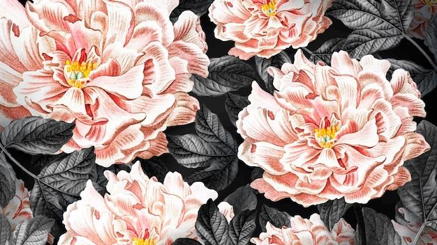Bloemen bloeiend pioenbehang