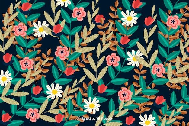 Bloemen bloeiende platte ontwerpachtergrond