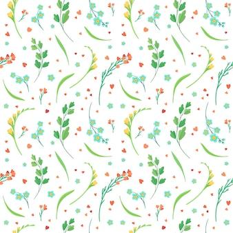 Bloemen bloeit en verlaat plat retro naadloos patroon.