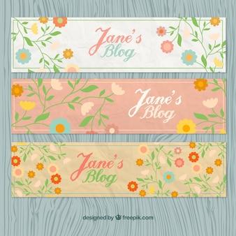 Bloemen blog headers in vintage stijl