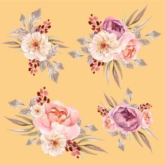 Bloemen boeket met liefde bloeiende conceptontwerp aquarel illustratie