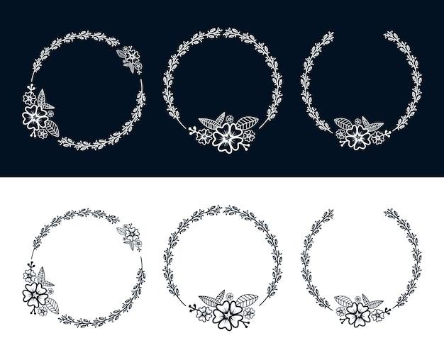 Bloemen botanisch vrouwelijk kransframe met bloemdecoratie voor logo