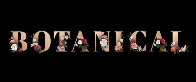 Bloemen botanische typografie