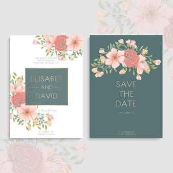 Bloemen bruiloft achtergrond instellen Premium Vector