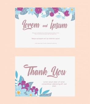 Bloemen bruiloft, bedankt kaart bloemen gebladerte bladeren