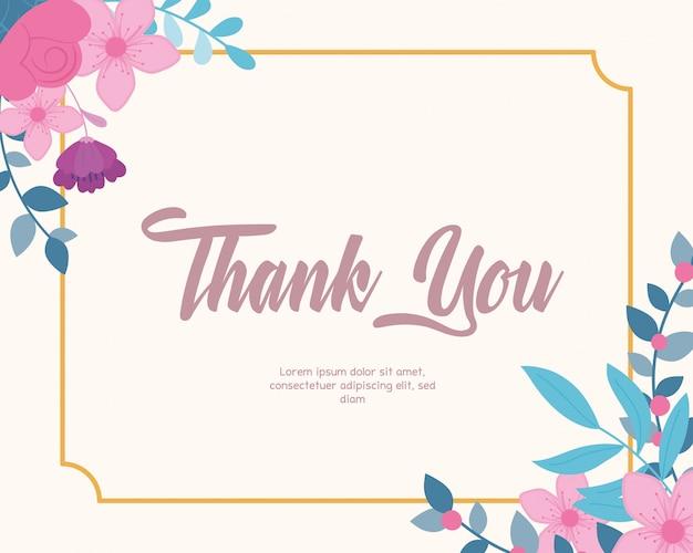 Bloemen bruiloft, bedankt kaart, bloemen gebladerte