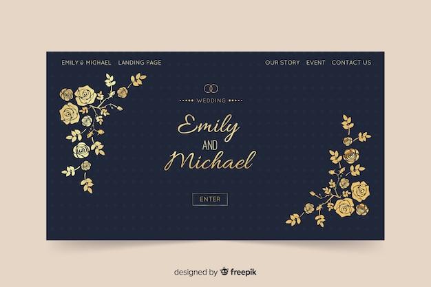 Bloemen bruiloft bestemmingspagina sjabloon