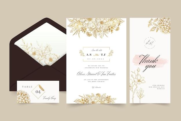 Bloemen bruiloft briefpapier collectie