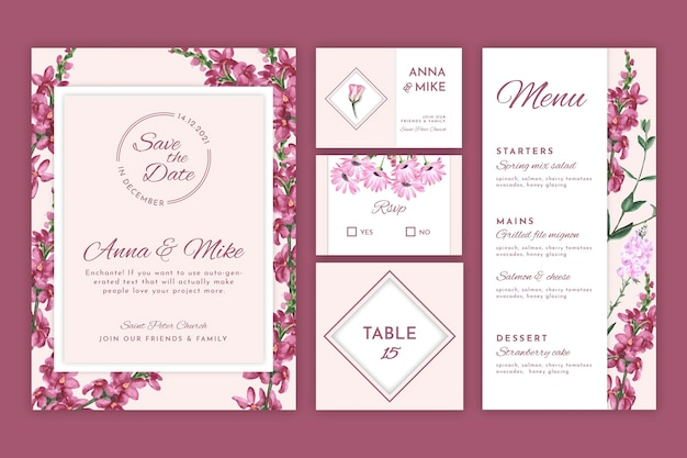 Bloemen bruiloft briefpapier collectie Gratis Vector