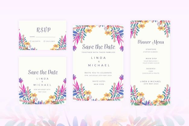 Bloemen bruiloft briefpapier instellen