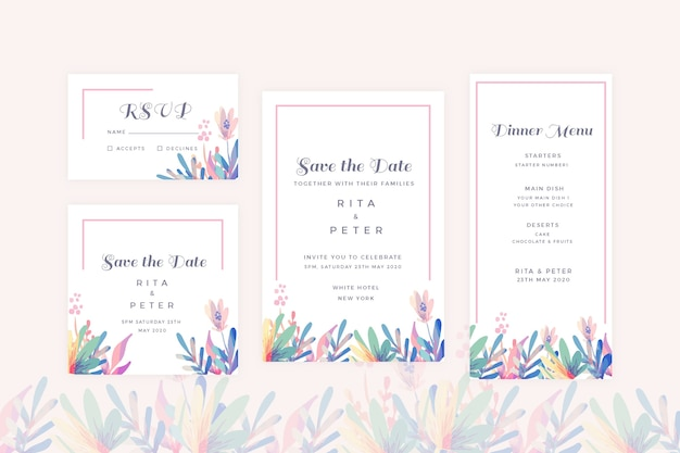Bloemen bruiloft briefpapier pack