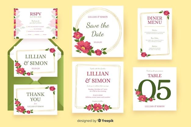 Bloemen bruiloft briefpapier sjabloon pack