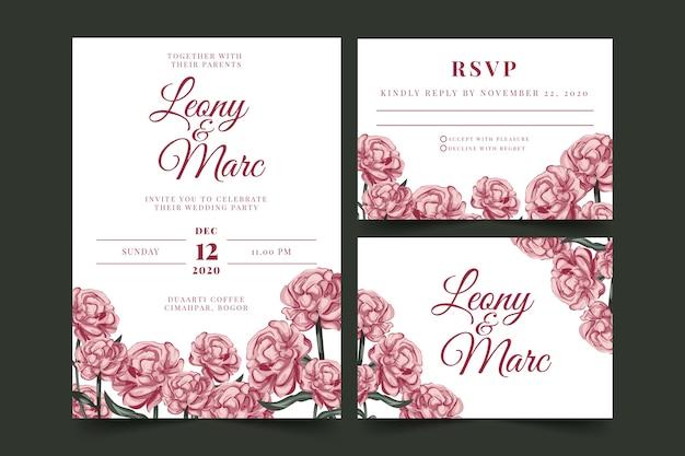 Bloemen bruiloft briefpapier sjabloon set