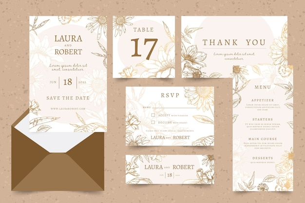 Bloemen bruiloft briefpapier sjabloon