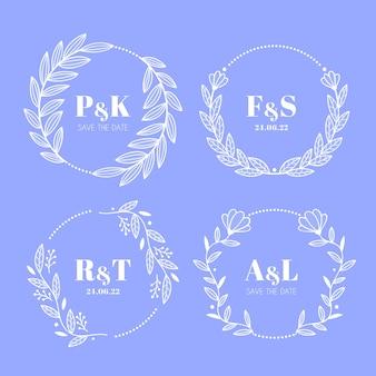 Bloemen bruiloft collectie logo's