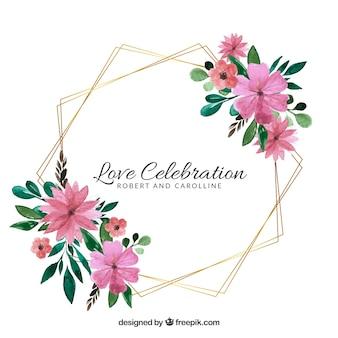 Bloemen bruiloft frame sjabloon