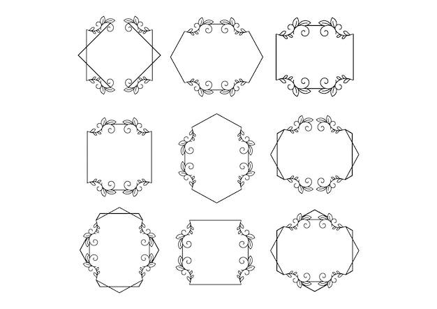 Bloemen bruiloft frameminimalistische templates-collectie