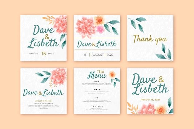 Bloemen bruiloft instagram berichten collectie