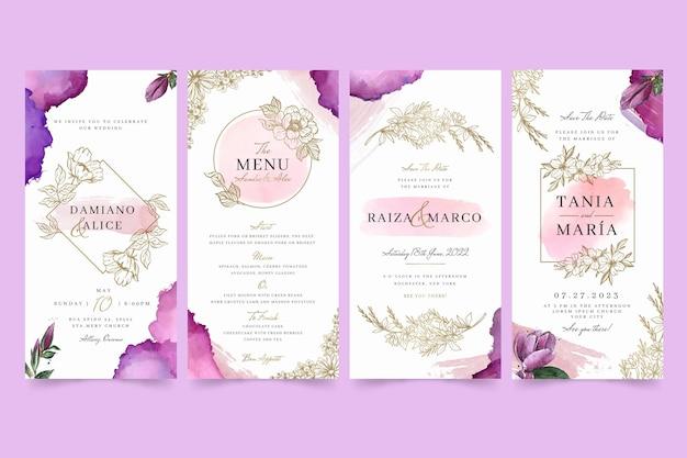 Bloemen bruiloft instagram verhalen Gratis Vector