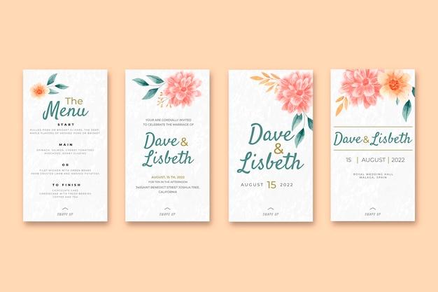 Bloemen bruiloft instagram verhalencollectie Gratis Vector